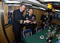 US Navy 090112-N-7705S-092 Lt. Cmdr. Brad Terry, left, executive officer of the Los-Angeles class attack submarine USS Boise (SSN 764), presents a plaque with the boat's seal to Republic of Korea Navy Chief of Naval Operations.jpg