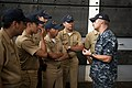 US Navy 100802-N-5319A-024 Ensign Benjamin Hall gives a tour of the amphibious transport dock ship USS New Orleans (LPD 18) to Colombian navy sailors during a port visit to Bahia Malaga Naval Base.jpg