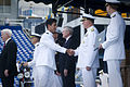 US Navy 110527-N-ZB612-180 Chief of Naval Operations (CNO) Adm. Gary Roughead congratulates newly commissioned ensigns and 2nd lieutenants of the N.jpg