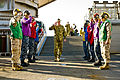 US Navy 110722-N-CZ945-090 Royal Australian Army Gen. David Hurley salutes rainbow sideboys upon his arrival aboard USS Germantown (LSD 42).jpg