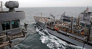 US Navy 120213-N-DH811-105 The Military Sealift Command Henry J. Kaiser-class fleet replenishment oiler USNS Patuxent (T-AO 201) transfers fuel to.jpg