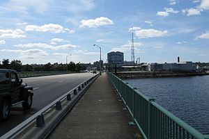 U.S. Route 6 in Massachusetts - Looking westbound entering New Bedford