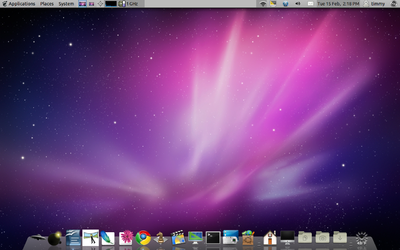A screenshot of Ubuntu version 10.10 (Maverick Meerkat), with a Mac4Lin theme installed.