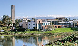 University of California, Santa Barbara - The Storke Tower and the University Center in front of the UCSB Lagoon.