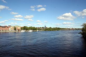 Umeå - View of the Ume River by its estuary Umeå