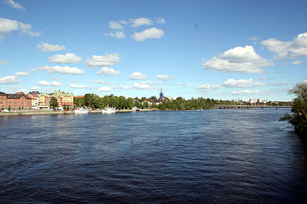 View of the Ume River by its estuary Umea Ume alv in Umea.jpg