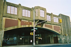 Union Hall Street (LIRR station) - The facade where Union Hall Street LIRR station used to be, today an entrance to York College (CUNY)