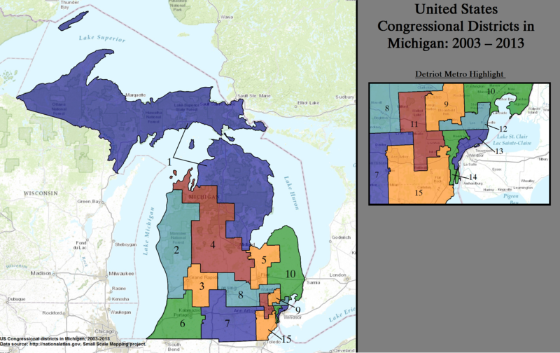 Michigans Congressional Districts Wikipedia - Us 12 michigan map