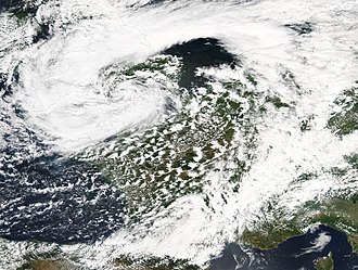 2007 United Kingdom floods - Cyclone Uriah crossing the United Kingdom on 25 June. Associated heavy rainfall led to flooding across northern England, particularly in Sheffield.