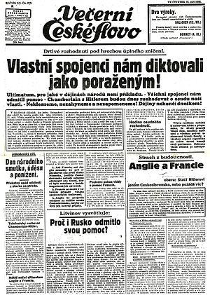 České slovo - Cover of České slovo (22 September 1938), with the headline reporting Munich Agreement