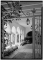 VIEW THROUGH NORTH CLOISTER FROM EAST - Everglades Club, Palm Beach, Palm Beach County, FL HABS FLA,50-PALM,12-14.tif