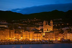 Bastia - View of St Jean Baptiste Cathedral from Bastia Port