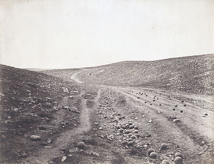 Valley of the Shadow of Death, by Roger Fenton, one of the most famous pictures of the Crimean War Valley of the shadow of death.jpg