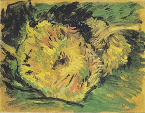 Sunflowers (Van Gogh series) - Sunflowers, study (F377), Oil on canvas, 21 x 27 cm, Van Gogh Museum, Amsterdam