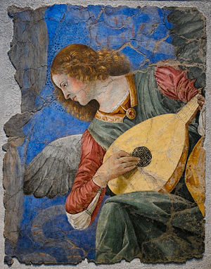 History of music in the biblical period - Fresco of angel playing a lute by Melozzo da Forlì.