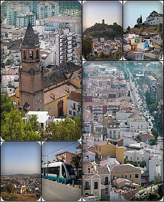 Vélez-Málaga - Collage of Velez-Malaga. Top left:San Juan Bautista Church, Top middle:View of Vélez-Málaga Fortress, from Remedios Hill, Top right:View of Los Remedios Hermitage、from San Cristbal Hills, Bottom left:View of downtown Vélez-Málaga, from Ermita Remedious Hill, Bottom middle:Vélez-Málaga tramway, near Torre del Mar Beach, Bottom right:View of Vivar Tellez Avenue from San Cristbal Hills