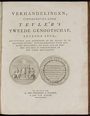 Teylers Tweede Genootschap - Verhandelingen van Teylers Tweede Genootschap (The Proceedings of Teylers Second society), title page.