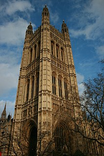 Tallest tower of the Palace of Westminster in London, England
