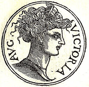 Victoria (Gallic Empire) - Victoria from Guillaume Rouillé's Promptuarii Iconum Insigniorum