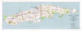 Vieques, Puerto Rico - Topographic Map of Vieques, 1951 with wards (barrios)