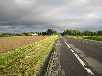 New York State Route 14A - NY 14A looking south, Yates County in background.