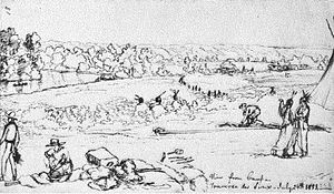 Traverse des Sioux - View from camp, Traverse des Sioux, July 24, 1851Drawing by Frank Blackwell MayerThe Minnesota River valley, a canoe or boat on the river, cabins, a tipi, Indians, and traders are shown.