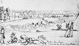 Traverse des Sioux - View from camp, Traverse des Sioux, July 24, 1851Frank Blackwell MayerThe Minnesota River valley, a canoe or boat on the river, cabins, a tipi, Indians, and traders are shown.