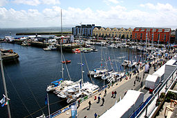 View of Galway harbour during the Volvo Ocean Race stopover