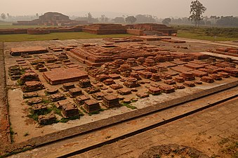 Landscape of Vikramashila university ruins, the seating, and meditation area. It was one of the two most important centers of learning in Classical India during the Pala Empire. Established by Emperor Dharmapala.