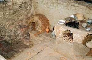 Kitchen - Kitchen with stove and oven of a Roman inn (Mansio) at the Roman villa of Bad Neuenahr-Ahrweiler, Germany.