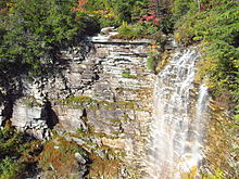 A waterfall in a wooded area against striated grayish rock