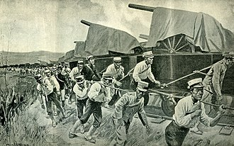 Battle of Tashihchiao - Due to a lack of locomotives, teams of 16 Japanese soldiers worked to haul freight cars north to Tashihchiao