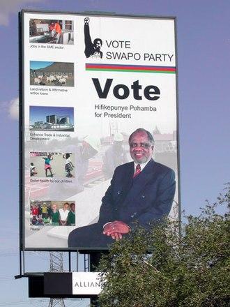 Hifikepunye Pohamba - 2004 election poster with Pohamba.