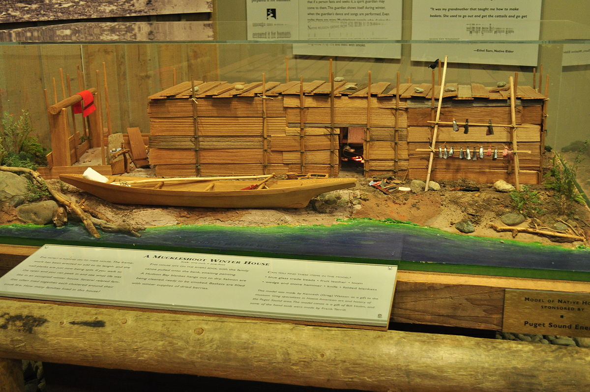 1200px-WRVM_-_Muckleshoot_winter_house_model Tillamook Indians Tribes Plank House on make a chinook indian house, makah indian wooden house, pacific northwest tribes house, tillamook native american housing,