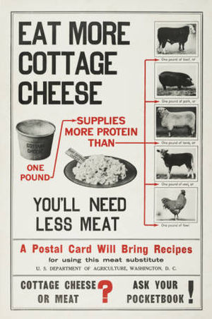 Cottage cheese - World War I poster encouraging U.S. citizens to consume cottage cheese as an alternative to meat products.