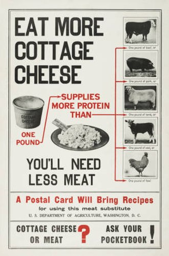 Committee on Public Information - Poster encouraging consumption of more cottage cheese as a replacement for meat.