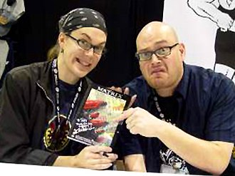 The Wachowskis - The Wachowskis at the San Diego ComicCon in 2004.
