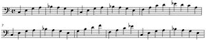 "Accompaniment - ""Walking basslines"", so-named because they rise and fall in a regular pattern, are a widely used style of accompaniment bassline in jazz, blues and rockabilly."