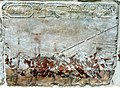 Wall fragment, painted. Boat trip of a royal couple on the occasion of celebration. from the mortuary temple of Hatshesput at Deir el-Bahari, Egypt. c. 1479-1458 BCE. Neues Museum.jpg