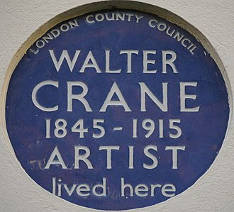 Walter Crane - Blue plaque, 13 Holland Street, Kensington, London – home from 1892–1915
