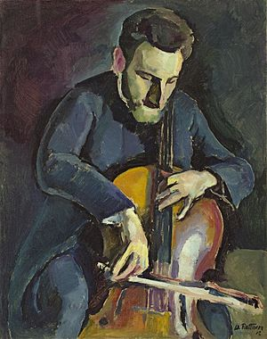 Thumb position - A painting of cellist using thumb position.