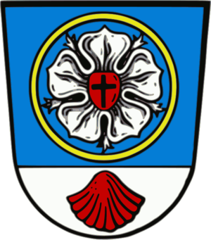 Rose (heraldry) - Luther rose on the civic arms of Neuendettelsau, Germany