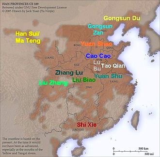 Sichuan - Warlords in China around 194; Liu Bei's takeover of Yi Province meant he seized the positions of Liu Biao and Zhang Lu eventually