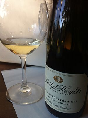 Gewürztraminer - A Gewürztraminer made in Oregon from grapes grown in Washington State.
