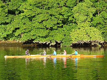 English: Water Sport on the Dee Many rowers ta...