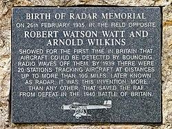 Photo of Arnold Wilkins and Robert Watson-Watt stone plaque