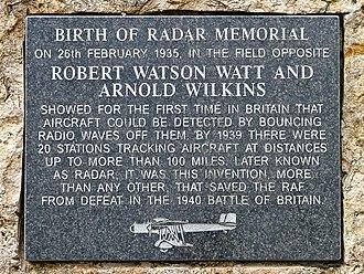 Robert Watson-Watt - Closeup of memorial plaque