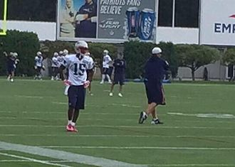Reggie Wayne - Wayne at Patriots practice in August 2015
