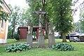 Wayside cross and statues near chapel in Dobrá Voda, Mladoňovice, Třebíč District.JPG