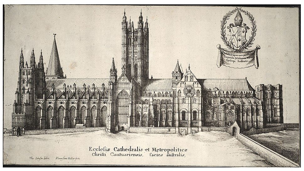 Wenceslas Hollar - Canterbury Cathedral- south side (State 1)